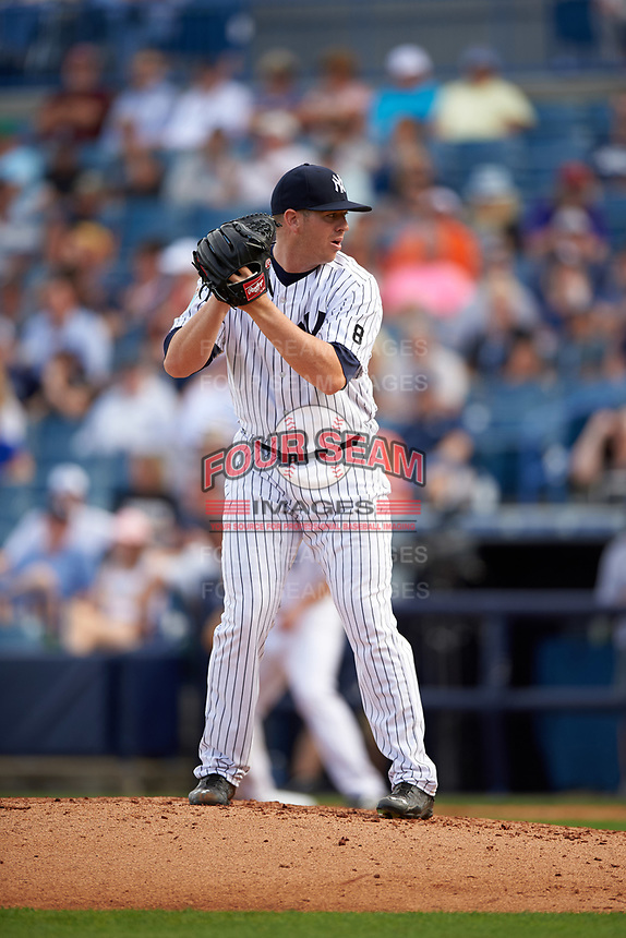 New York Yankees relief pitcher Johnny Barbato (83) gets ready to deliver a pitch during a Spring Training game against the Detroit Tigers on March 2, 2016 at George M. Steinbrenner Field in Tampa, Florida.  New York defeated Detroit 10-9.  (Mike Janes/Four Seam Images)