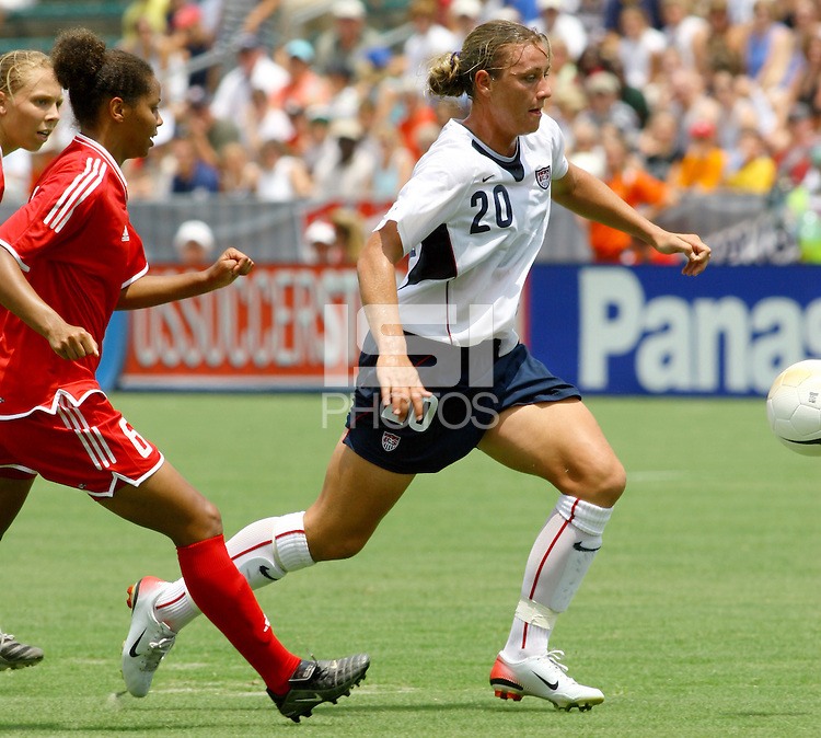 Abby Wambach races for the ball. The USA defeated Canada 2-0 at SAS Stadium in Cary, NC on Sunday, July 30, 2006.
