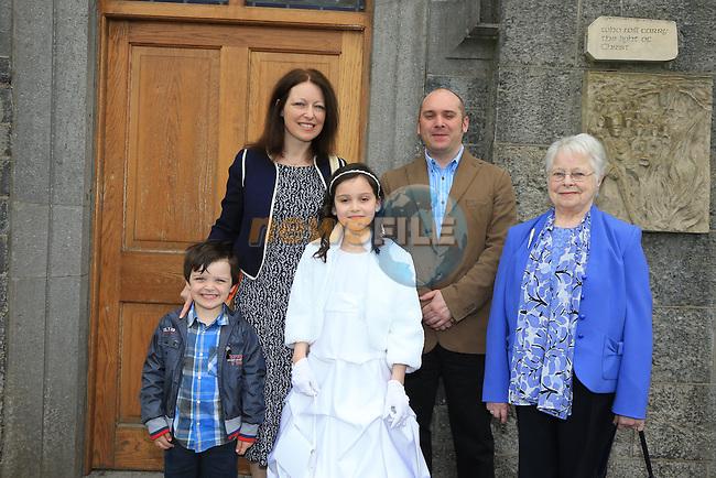 Rachel Salerno, Daniel, Moira Alan, Maura O'Connor at first communion in Slane..Picture:  www.newsfile.ie ..