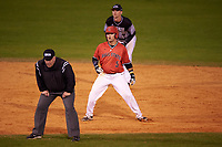 Ball State Cardinals second baseman Ryan Spaulding (5) leads off second base in front of shortstop Eric Solberg, and behind umpire Art Foth, during a game against the Wisconsin-Milwaukee Panthers on February 26, 2016 at Chain of Lakes Stadium in Winter Haven, Florida.  Ball State defeated Wisconsin-Milwaukee 11-5.  (Mike Janes/Four Seam Images)