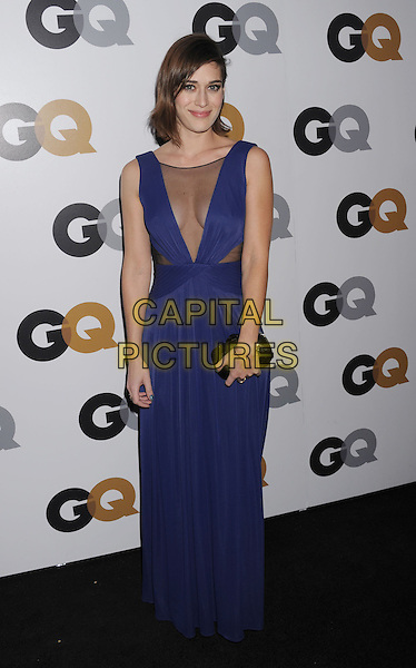 Lizzy Caplan.Arriving at the GQ Men Of The Year Party at Chateau Marmont Hotel in Los Angeles, California, USA..November 13th, 2012.full length dress blue sleeveless sheer maxi plunging neckline cleavage black clutch bag.CAP/ROT/TM.©Tony Michaels/Roth Stock/Capital Pictures