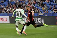 16th July 2020; Nice, France; Veolia Trohy Football friendly, OGC Nice versus Celtic FC;  Amine Gouiri nice takes a shot past Jermie Fimpomg celtic