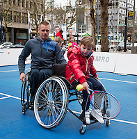 08-02-14, Netherlands,RotterdamAhoy, ABNAMROWTT,, Streettennis in wheelchairs in the center of Rotterdam with Maikel Scheffers (NED)  <br />