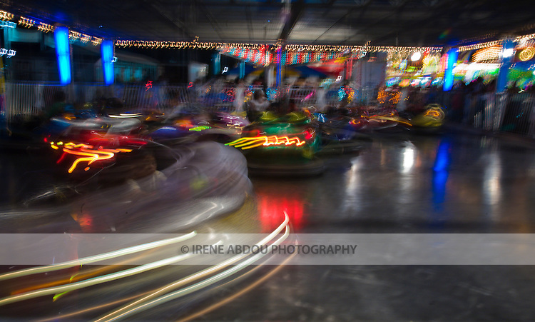 Children ride the bumper cars at the 2007 Montgomery County Agricultural Fair in Gaithersburg, Maryland.