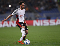 Calcio, Champions League, Gruppo E: Roma vs Bayer Leverkusen. Roma, stadio Olimpico, 4 novembre 2015.<br /> Bayer Leverkusen's Hakan Calhanoglu in action during a Champions League, Group E football match between Roma and Bayer Leverkusen, at Rome's Olympic stadium, 4 November 2015.<br /> UPDATE IMAGES PRESS/Isabella Bonotto