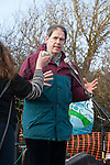 Jonathan Porritt talks to protesters at the  gates of Hinkley Nuclear power station,  at a march against the building of  Hinkley C power station, Somerset  and the UK government's choice of Nuclear power as the mainstay of England's power supply.