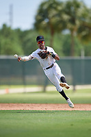 GCL Marlins shortstop Nasim Nunez (1) throws to first base during a Gulf Coast League game against the GCL Astros on August 8, 2019 at the Roger Dean Chevrolet Stadium Complex in Jupiter, Florida.  GCL Astros defeated GCL Marlins 4-2.  (Mike Janes/Four Seam Images)