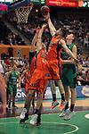 League ACB-ENDESA 2017/2018. Game: 30.<br /> Divina Seguros Joventut vs Valencia Baket Club: 77-75.<br /> Aaron Doomekamp, Rafa Martinez &amp; Simon Birgander.