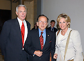 "Washington, D.C. - (FILE) -- Dr. Harvey W. Schiller, President and CEO, Assante; Former Executive Director of United States Olympic Committee; and Chair, Management Committee for NYC 2012, left, poses for a photo with United States Senate President Pro-Tempore Ted Stevens (Republican of Alaska), center, and Donna de Varona, Olympian and Sports Commentator; Member, United States Olympic Committee Independent Commission, right, following testimony before the United States Senate Commerce, Science, and Transportation Committee on ""Reform of the United States Olympic Committee (USOC) in Washington, DC on June 24, 2003.  Senator Stevens was indicted on Tuesday, July 29, 2008 on seven counts of failing to report as income gifts he received including renovations on his home. .Credit: Ron Sachs / CNP"
