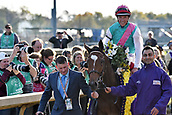 3rd November, 2018, Churchill Downs, Louisville, Kentucky, USA; Enable with Frankie Dettori up after winning the Breeders Cup Turf. Churchill Downs racecourse.