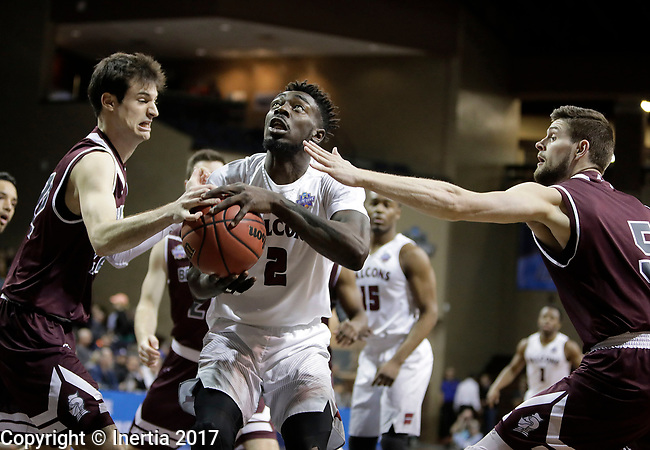 SIOUX FALLS, SD: MARCH 22: Matt Bingaya #2 from Fairmont State eyes the basket while Adam Eberhard #22 from Bellarmine reaches during the Men's Division II Basketball Championship Tournament on March 22, 2017 at the Sanford Pentagon in Sioux Falls, SD. (Photo by Dick Carlson/Inertia)