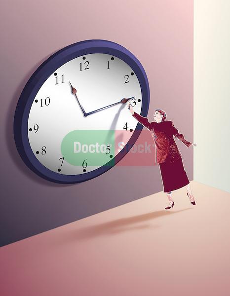 metaphorical illustration for holding back the biological clock