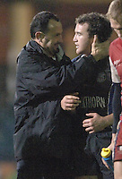 2005/06 Powergen Cup, Bath Rugby vs Gloucester Rugby, Acting chief coach, Mike Foley,[left] congratulates Chris Malone after Bath Rugby, run out winners against Gloucester at, The Rec, on the 03.12.2005.   © Peter Spurrier/Intersport Images - email images@intersport-images..