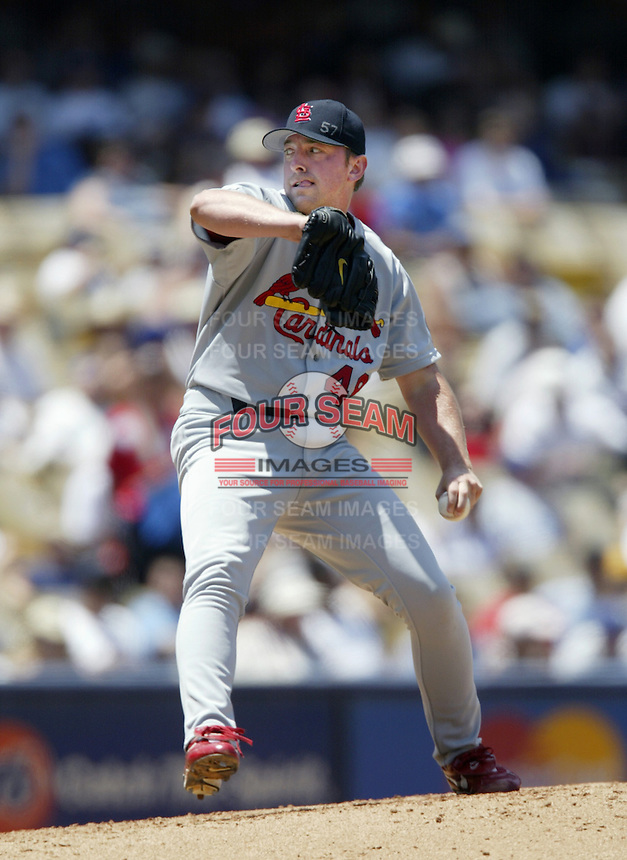 Mike Matthews of the St. Louis Cardinals pitches during a 2002 MLB season game against the Los Angeles Dodgers at Dodger Stadium, in Los Angeles, California. (Larry Goren/Four Seam Images)