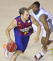 16.06.2013 Barcelona, Spain. Liga Endesa . Playoff game 4 Picture show Brad Oleson in action during game between FC Barcelona against Real Madrid at Palau Blaugrana