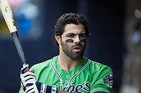Ryan LaMarre (7) of the Gwinnett Braves during the game against the Durham Bulls at Durham Bulls Athletic Park on April 20, 2019 in Durham, North Carolina. The Bulls defeated the Braves 11-3 in game one of a double-header. (Brian Westerholt/Four Seam Images)