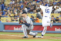 06/06/13 Los Angeles, CA: Atlanta Braves first baseman Freddie Freeman #5 during an MLB game played between the Los Angeles Dodgers and the Atlanta Braves at Dodger Stadium. The Dodgers defeated the Braves 5-0.