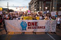 AUSTIN, TEXAS - Thousands march through downtown Austin to protest President Trump on inauguration Day Friday January 20, 2017. DAN HERRON / HERRONSTOCK EDITORIAL<br />