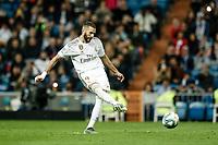 30th October 2019; Estadio Santiago Bernabeu, Madrid, Spain; La Liga Football, Real Madrid versus Leganes; Karim Benzema (Real Madrid) shoots and scores to make it 4-0 in the 69th minute  - Editorial Use