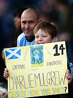 A Blackburn fan holds a sign for Blackburn Rovers' Charlie Mulgrew<br /> <br /> Photographer Richard Martin-Roberts/CameraSport<br /> <br /> The EFL Sky Bet Championship - Blackburn Rovers v West Bromwich Albion - Tuesday 1st January 2019 - Ewood Park - Blackburn<br /> <br /> World Copyright &not;&copy; 2019 CameraSport. All rights reserved. 43 Linden Ave. Countesthorpe. Leicester. England. LE8 5PG - Tel: +44 (0) 116 277 4147 - admin@camerasport.com - www.camerasport.com