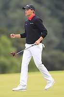 Rasmus Hojgaard of Team Denmark holes for a birdie on the 18th green during Round 4 of the WATC 2018 - Eisenhower Trophy at Carton House, Maynooth, Co. Kildare on Saturday 8th September 2018.<br /> Picture:  Thos Caffrey / www.golffile.ie<br /> <br /> All photo usage must carry mandatory copyright credit (© Golffile | Thos Caffrey)