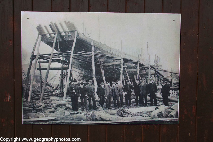 Photo of wooden ship building at the Maritime museum, Porthmadog, Gwynedd, north west Wales, UK