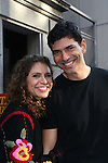 """Actor Joe Barbara (Captain Joe Carlino - Another World and Paolo Caselli - All My Children) poses with costar Jodie Langel (Rescue Me) as they star in the musical """"I Come For Love"""" as Scoop and Nine-O as a part of the New York Musical Theatre Festival at the Chernuchin Theatre, NYC, NY. (Photo by Sue Coflin/Max Photos)"""