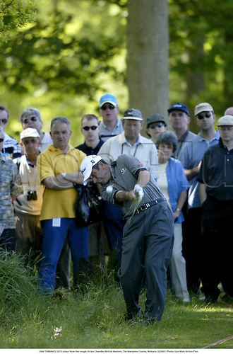 SAM TORRANCE (SCO) plays from the rough, Victor Chandler British Masters, The Marquess Course, Woburn, 020601. Photo: Glyn Kirk/Action Plus....2002.ball sports.golf golfer golfers