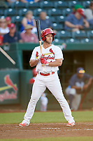 Springfield Cardinals third baseman Jacob Wilson (4) at bat during a game against the Corpus Christi Hooks on May 30, 2017 at Hammons Field in Springfield, Missouri.  Springfield defeated Corpus Christi 4-3.  (Mike Janes/Four Seam Images)