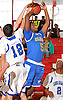 Cleevens Lans #5 of Kellenberg draws a shooting foul during a non-league varsity boys' basketball game against Long Beach at Freeport High School on Monday, Jan. 18, 2016. Kellenberg won by a score of 71-62.