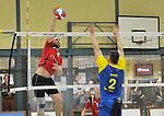 2015-10-24 / volleybal / seizoen 2015-2016 / Geel - Elen / Wynants (l) (Geel) slaat voorbij het blok van Medo (r) (Elen)