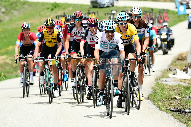 The peleton including race leader Geraint Thomas (WAL) Team Sky Yellow Jersey in action during Stage 6 of the 2018 Criterium du Dauphine 2018 running 110km from Frontenex to La Rosiere, France. 9th June 2018.<br /> Picture: ASO/Alex Broadway   Cyclefile<br /> <br /> <br /> All photos usage must carry mandatory copyright credit (© Cyclefile   ASO/Alex Broadway)