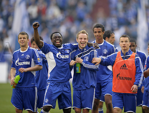 17.4.10 Bundesliga League 1, Matchday 31, FC Shalke 04 v Borussia Moenchengladbach in the Veltins Arena. Schalke won the match 3-1 Final cheering the Schalke Players v l Lukas Schmitz Gerald Asamoah Ivan Rakitic Joel Matip and Alexander Baumjohann all Schalke Gelsenkirchen