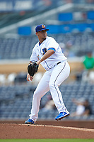 Durham Bulls starting pitcher Jose De Leon (37) in action against the Columbus Clippers at Durham Bulls Athletic Park on June 1, 2019 in Durham, North Carolina. The Bulls defeated the Clippers 11-5 in game one of a doubleheader. (Brian Westerholt/Four Seam Images)