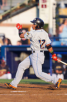 Francisco Lindor (12) of the Akron Rubber Ducks follows through on his swing against the Reading Fightin Phils at FirstEnergy Stadium on June 19, 2014 in Wappingers Falls, New York.  The Rubber Ducks defeated the Fightin Phils 3-2.  (Brian Westerholt/Four Seam Images)