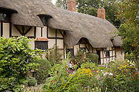 Thatched roof cottage of  Anne Hathaway, Stratford Upon Avon, Cotswalds, England.