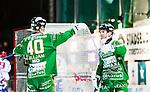 Stockholm 2015-01-16 Bandy Elitserien Hammarby IF - IFK Kung&auml;lv :  <br /> Hammarbys Kalle Spjuth firar sitt 6-2 m&aring;l med Adam Gilljam under matchen mellan Hammarby IF och IFK Kung&auml;lv <br /> (Foto: Kenta J&ouml;nsson) Nyckelord:  Elitserien Bandy Zinkensdamms IP Zinkensdamm Zinken Hammarby Bajen HIF IFK Kung&auml;lv jubel gl&auml;dje lycka glad happy