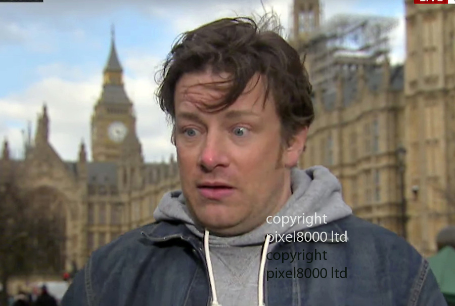 "Pic shows: Budget 2016<br /> Chef Jamie Oliver  happened to be passing Westminster  today and told Sky News he was surprised and ""humbled"" by the introduction of sugar tax<br /> <br /> <br /> <br /> Picture by Pixel8000 07917221968"