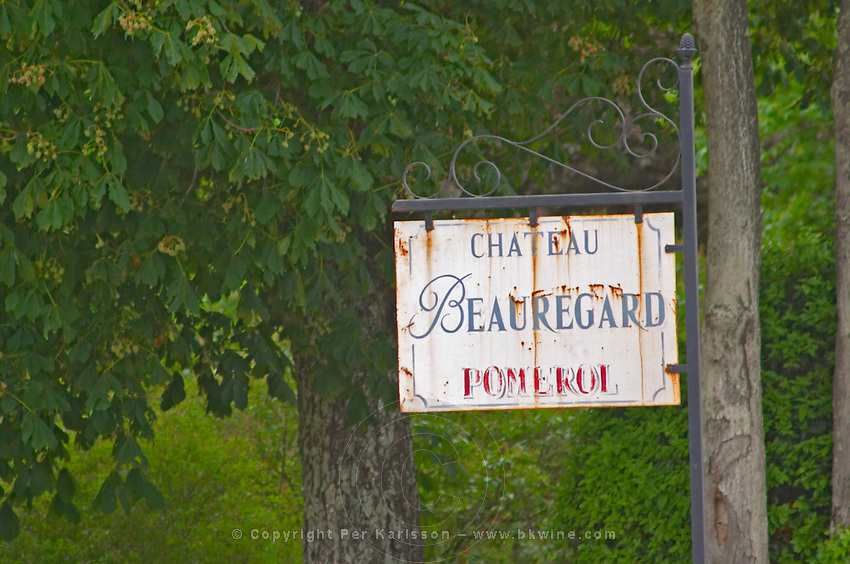 A rusty sign saying Chateau Beauregard Pomerol Bordeaux Gironde Aquitaine France