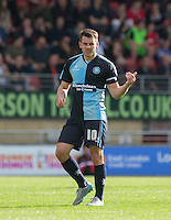 Goal scorer Matthew Bloomfield of Wycombe Wanderers gives thumbs up after his goal during the Sky Bet League 2 match between Leyton Orient and Wycombe Wanderers at the Matchroom Stadium, London, England on 19 September 2015. Photo by Andy Rowland.