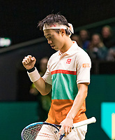 Rotterdam, The Netherlands, 12 Februari 2019, ABNAMRO World Tennis Tournament, Ahoy, first round singles: Kei Nishikori (JPN).<br /> Photo: www.tennisimages.com/Henk Koster