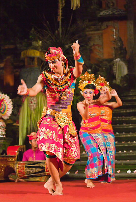 The FISHERMAN DANCE is performed by the Cenik Wayah Gamelan Dance Group at PURA TAMAN SARASWATI - UBUD, BALI, INDONESIA