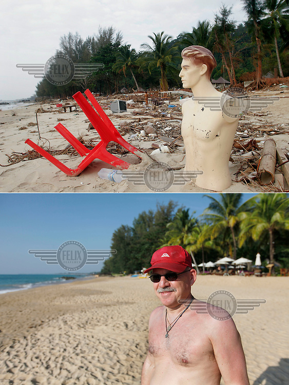 A mannequin, likely from one of numerous tailors shops in the area, stands on Nang Thong, Thailand, beach following  the tsunami that struck Asia 26/12/2004...The area has since been rebuilt, and tourists have returned.  German tourist Ludwig Winkler is amongst those who are happy to be on holiday on Nang Thong beach five years after the tsunami..©Fredrik Naumann/Felix Features