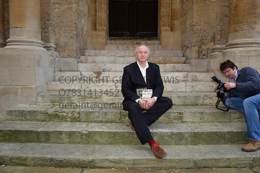 Philip Pullman,writer, at The Sheldonian Theatre in Oxford at The Oxford Literary Festival 2010.Where he talked about his new book The Good Man Jesus and The Scoundrel Christ published by Canongate as part of their critically acclaimed Myths Series.CREDIT Geraint Lewis