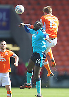 Blackpool's Sean Longstaff jumps with  Fleetwood Town's Toumani Diagouraga <br /> <br /> Photographer Mick Walker/CameraSport<br /> <br /> The EFL Sky Bet League One - Blackpool v Fleetwood Town - Saturday 14th April 2018 - Bloomfield Road - Blackpool<br /> <br /> World Copyright &copy; 2018 CameraSport. All rights reserved. 43 Linden Ave. Countesthorpe. Leicester. England. LE8 5PG - Tel: +44 (0) 116 277 4147 - admin@camerasport.com - www.camerasport.com