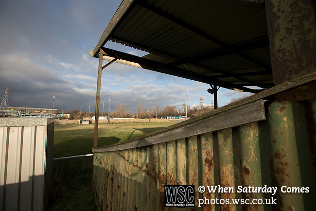 Runcorn Town 1 Runcorn Linnets 0, 26/12/2013. The Pavilions, North West Counties League Premier Division. The derelict former home of General Chemicals FC, whose pitch was adjacent to Runcorn Town FC, pictured before the Boxing Day derby match between Runcorn Town and visitors Runcorn Linnets at the Pavilions, Runcorn, in a top-of the table North West Counties League premier division match. Runcorn Linnets won 1-0 and overtook their neighbours at the top of the league in a game watched by 803 spectators. Runcorn Linnets were a successor club to Runcorn FC, one of England foremost non-League clubs of the 1970s and 1980s. Photo by Colin McPherson.