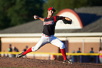 Batavia Muckdogs pitcher LJ Brewster (33) delivers a pitch during a game against the Vermont Lake Monsters August 9, 2015 at Dwyer Stadium in Batavia, New York.  Vermont defeated Batavia 11-5.  (Mike Janes/Four Seam Images)