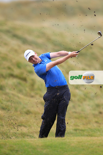 Simon Ward (Co. Louth) on the 7th fairway during the South of Ireland Amateur Open Championship Final at Lahinch Golf Club  31th July 2013 <br /> Picture:  Thos Caffrey / www.golffile.ie