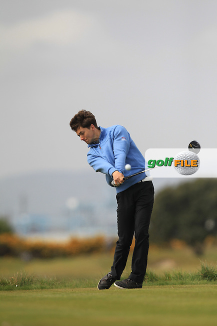 Phil Tomkinson (ENG) on the 3rd tee during Round 2 of the Flogas Irish Amateur Open Championship at Royal Dublin on Friday 6th May 2016.<br /> Picture:  Thos Caffrey / www.golffile.ie