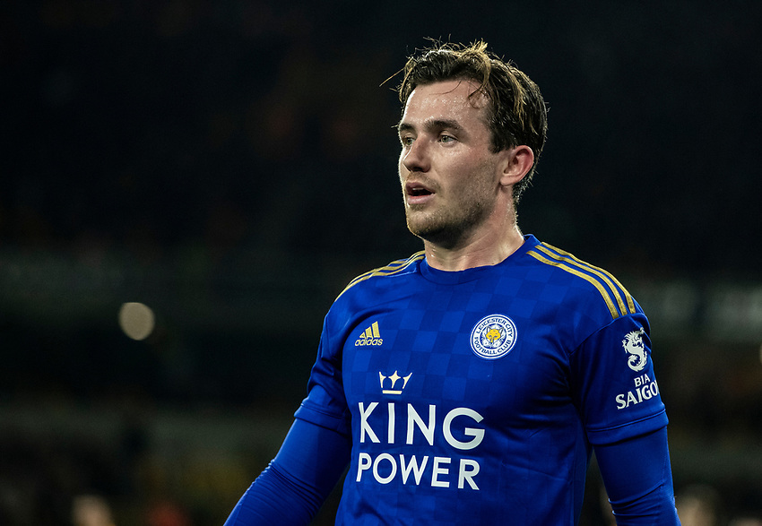 Leicester City's Ben Chilwell <br /> <br /> Photographer Andrew Kearns/CameraSport<br /> <br /> The Premier League - Wolverhampton Wanderers v Leicester City - Friday 14th February 2020 - Molineux - Wolverhampton<br /> <br /> World Copyright © 2020 CameraSport. All rights reserved. 43 Linden Ave. Countesthorpe. Leicester. England. LE8 5PG - Tel: +44 (0) 116 277 4147 - admin@camerasport.com - www.camerasport.com